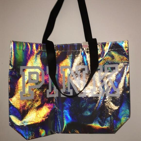 Victoria's Secret PINK shoulder Reusable Tote Bag Lightweight Iridescent Silver